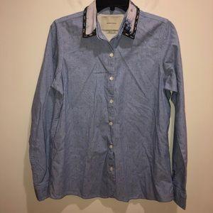 Maison Scotch Blue Button Front Embellished Collar